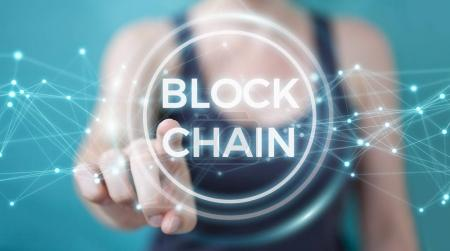 Businesswoman using blockchain cryptocurrency interface 3D rende