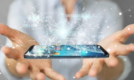 Businesswoman using digital binary code on mobile phone 3D rende