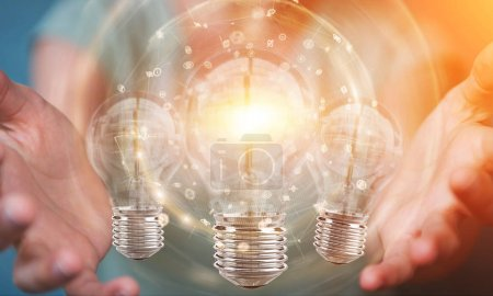 Businesswoman connecting modern lightbulbs with connections 3D r