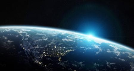 View of blue planet Earth in space 3D rendering elements of this