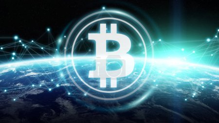 Bitcoins exchanges on planet Earth 3D rendering