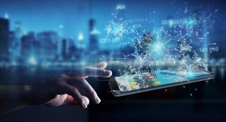 Businessman using digital binary code on mobile phone 3D renderi