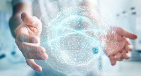 Photo pour Homme d'affaires sur fond flou en utilisant la sphère de connexion réseau numérique rendu 3D - image libre de droit