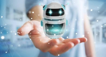 Businessman using digital chatbot robot application 3D rendering