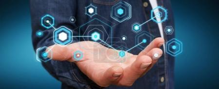 Homme d'affaires utilisant des écrans numériques avec hologrammes données rendu 3D