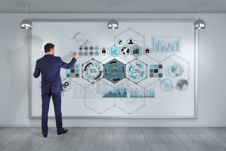 Businessman using chart screens interface on a board 3D renderin