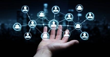 Photo pour Homme d'affaires sur fond flou en utilisant la connexion de réseau social rendu 3D - image libre de droit
