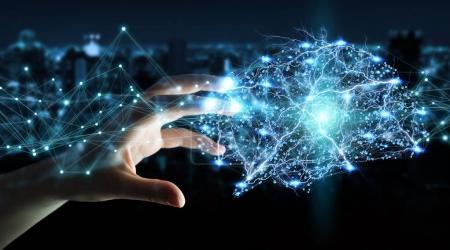 Photo pour Femme d'affaires à l'aide de radiographie numérique cerveau humain interface avec l'activité cellulaire et les neurones rendu 3d - image libre de droit