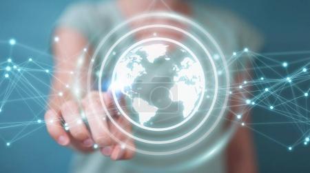 Businesswoman using planet earth network sphere 3D rendering