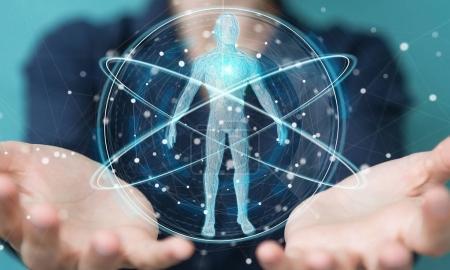 Businesswoman using digital x-ray human body scan interface 3D r