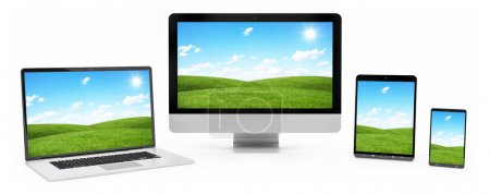 Photo for Modern digital silver tech device on white background 3D rendering - Royalty Free Image