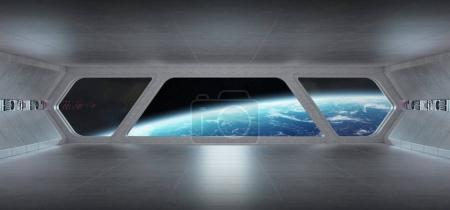 Spaceship futuristic grey blue interior with view on planet Eart