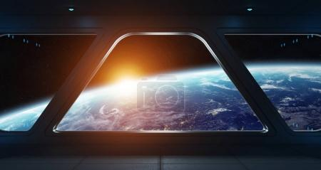 Spaceship futuristic interior with view on planet Earth