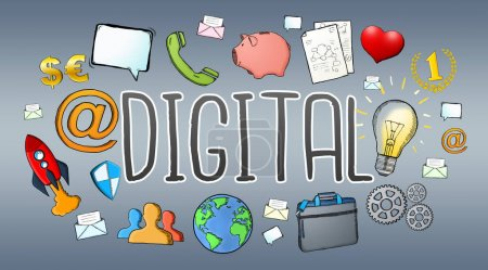 Hand-drawn multimedia technology digital text with icons