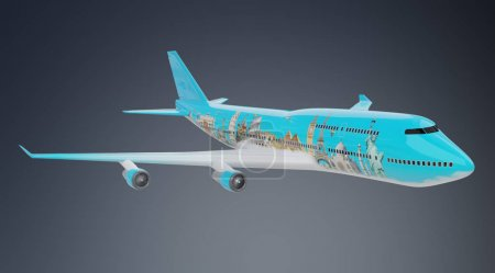 Plane with famous landmarks of the world 3D rendering