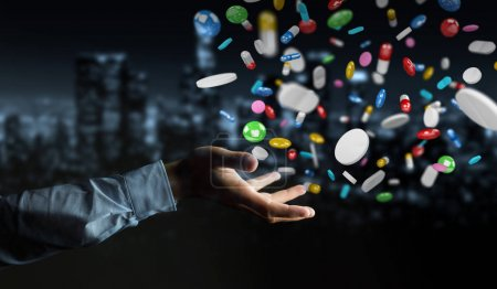 Businessman holding and touching floating medicine pills 3D rend