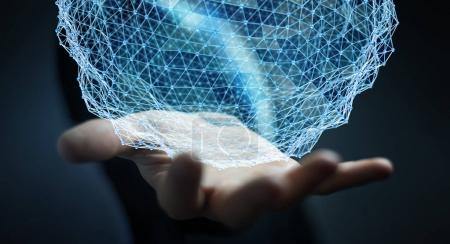 Homme d'affaires tenant la sphère de réseau volant rendu 3D