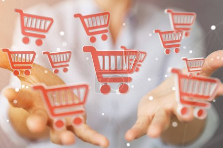 Businesswoman using digital shopping icons 3D rendering