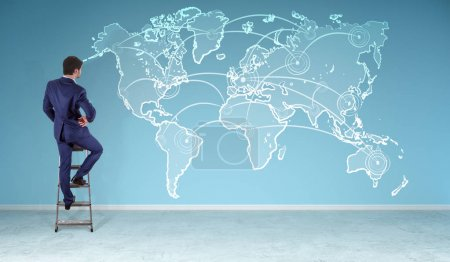 Businessman watching manuscript world map connection on a wall 3