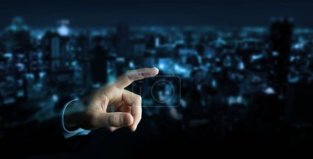 Photo for Businessman pointing finger on blurred background - Royalty Free Image