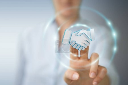 Photo for Businesswoman on blurred background concluding a partnership 3D rendering - Royalty Free Image