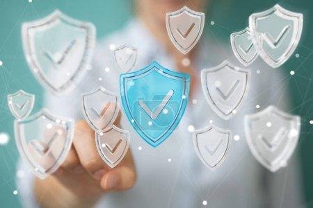 Businesswoman using modern data shield antivirus 3D rendering