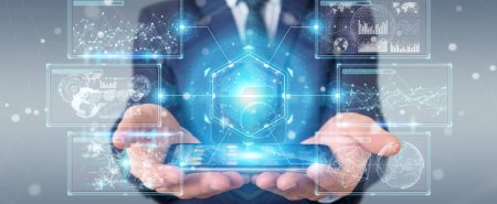 Photo for Businessman on blurred background using digital screens interface with holograms datas 3D rendering - Royalty Free Image