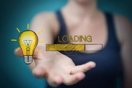 Businesswoman holding and touching loading sketch