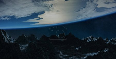 Asteroids flying close to planet Earth 3D rendering elements of