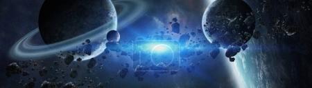 Photo pour Vue panoramique des planètes dans le système solaire lointain dans l'espace éléments de rendu 3D de cette image fournie par la NASA - image libre de droit