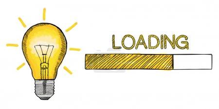 Loading lightbulb sketch illustration