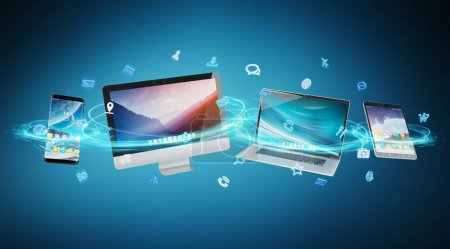 Photo for Tech devices and icons applications connected and isolated on blue background 3D rendering - Royalty Free Image