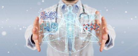 Photo pour Docteur sur fond flou en utilisant l'interface numérique futuriste médicale rendu 3D - image libre de droit