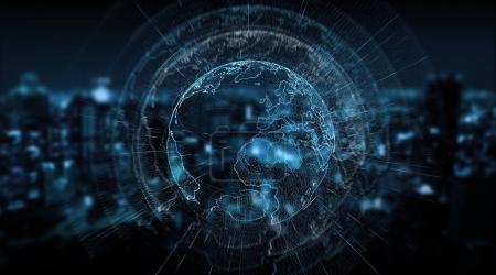 Photo pour Connexions système sphère mondiale vue sur fond de ville rendu 3d - image libre de droit