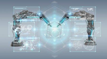 Photo pour Bras robotique avec écran numérique isolé sur fond gris rendu 3d - image libre de droit