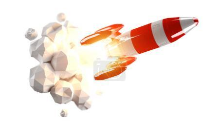 Red and white rocket launching 3D rendering