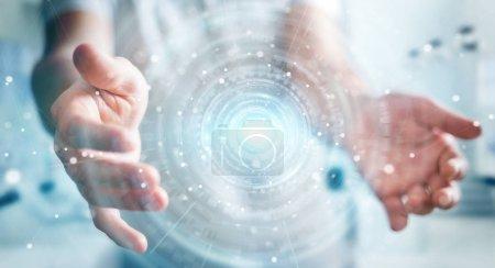 Homme d'affaires à l'aide de la connexion réseau digital interface 3d render