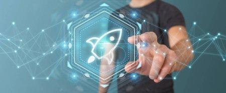 Photo pour Homme d'affaires sur fond flou à l'aide de rendu 3d de démarrage interface numérique - image libre de droit