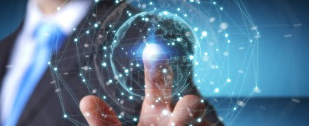 Photo pour Homme d'affaires sur fond flou en utilisant l'interface planète Terre réseau sphère rendu 3D - image libre de droit