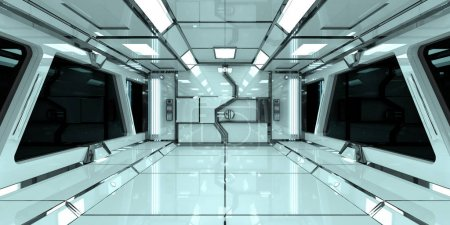 Photo for Spaceship bright interior with black window view 3D rendering - Royalty Free Image