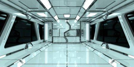 Spaceship bright interior 3D rendering