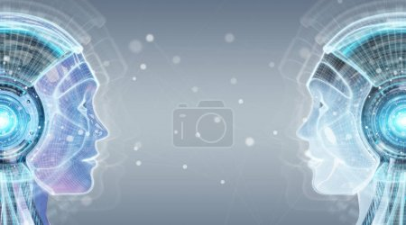 Photo for Digital artificial intelligence cyborg interface isolated on grey background 3D rendering - Royalty Free Image