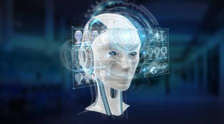 Photo pour Interface de cyborg intelligence artificielle numérique isolé sur fond bleu rendu 3d - image libre de droit