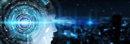 Photo pour Tête de cyborg utilisant l'intelligence artificielle pour créer une interface numérique sur fond de bokeh urbain rendu 3D - image libre de droit