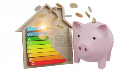Energy chart rating and piggy bank illustration 3D rendering