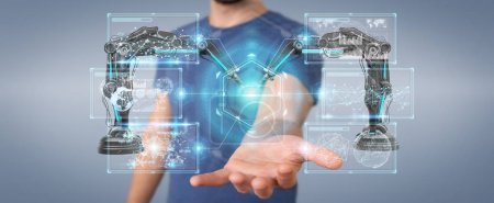 Photo pour Homme d'affaires sur fond flou à l'aide du bras robotique avec écran digital 3d rendering - image libre de droit