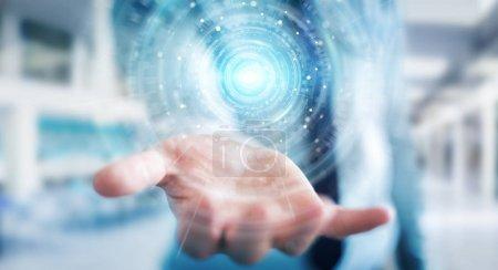 Photo pour Homme d'affaires sur fond flou en utilisant l'interface de connexion réseau numérique rendu 3D - image libre de droit