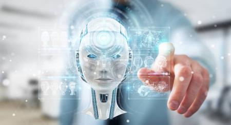 Empresario que utiliza interfaz digital de inteligencia artificial 3D r