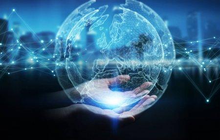 Photo pour Femme d'affaires sur fond flou à l'aide de rendu 3d terre interface réseau planète sphère - image libre de droit
