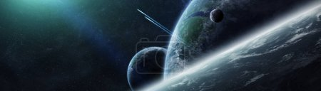 Panoramic view of planets in distant solar system 3D rendering e